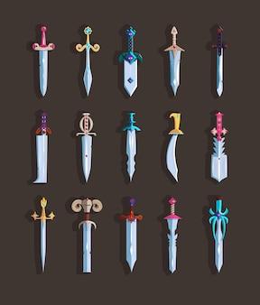 Schwerter. magische schwerter mit stahlklingen.
