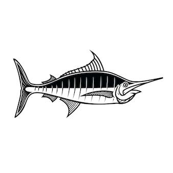 Schwertfisch. gestaltungselement für logo, etikett, emblem, zeichen, plakat. vektorillustration