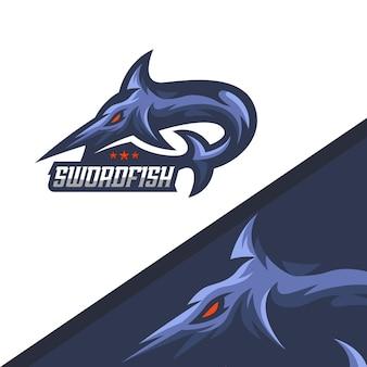 Schwertfisch-maskottchen-logo