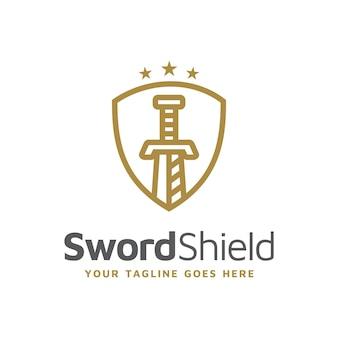 Schwertschild-rüstung mit einfachem strichzeichnungsstil für secure protect guard-logo-design-vektor