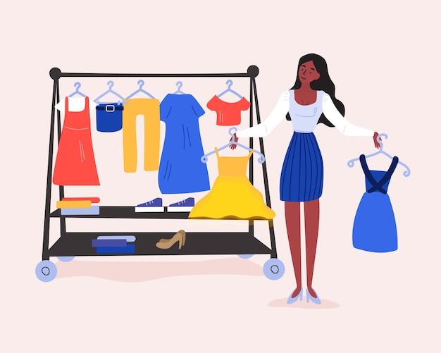 Schwierige einkaufsentscheidung. junges mädchen kann nicht entscheiden, welches kleid sie kaufen soll. Premium Vektoren