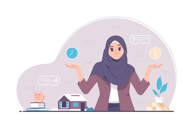 Schwierige entscheidungen, die entscheidungen mit islamischem hijab-mädchen verwechseln