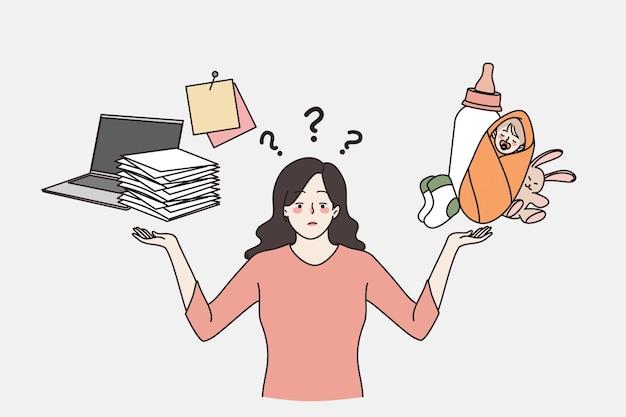 Schwieriges weibliches wahlproblemkonzept. junge frustrierte gestresste frau, die zwischen familie und karriere wählt, die verantwortlich macht, wählen sie vektorillustration