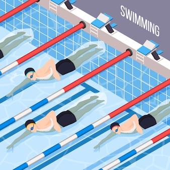 Schwimmbad für leute, die an sportvektorillustration interessiert sind