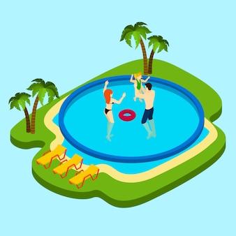 Schwimmbad-illustration
