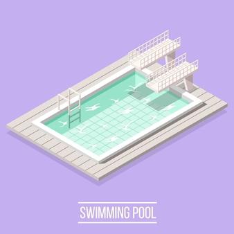 Schwimmbad isometrisch