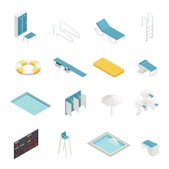 Schwimmbad isometrische elemente festgelegt