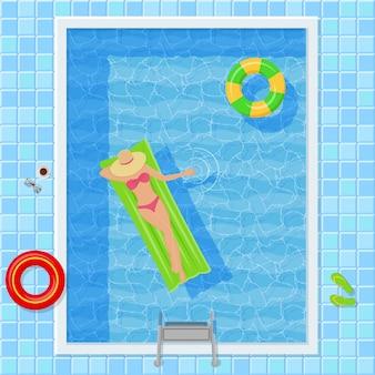 Schwimmbad mit frau. draufsicht