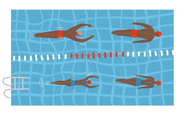 Schwimmbad mit mehreren schwimmern im wasser