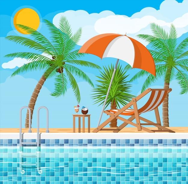 Schwimmbad und liege, palme