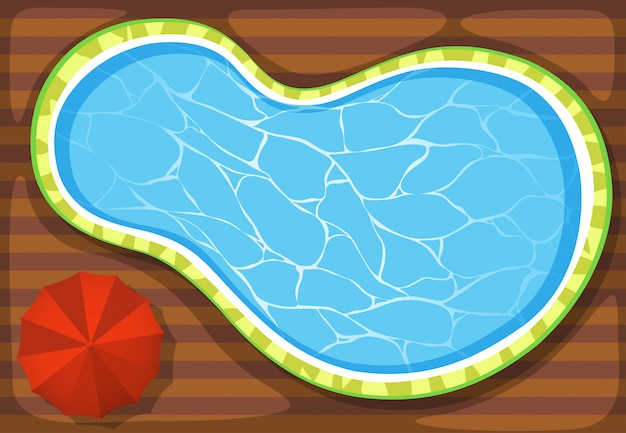 Schwimmbad und sonnenschirm