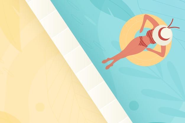 Schwimmbadwasser mit mädchensommerferien junge frau im bikinibadeanzug und -hut