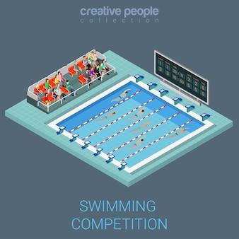 Schwimmbadwettbewerb flach d isometrische info-grafikkonzept