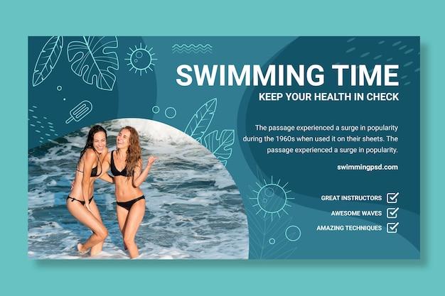 Schwimmbanner-vorlage mit foto with