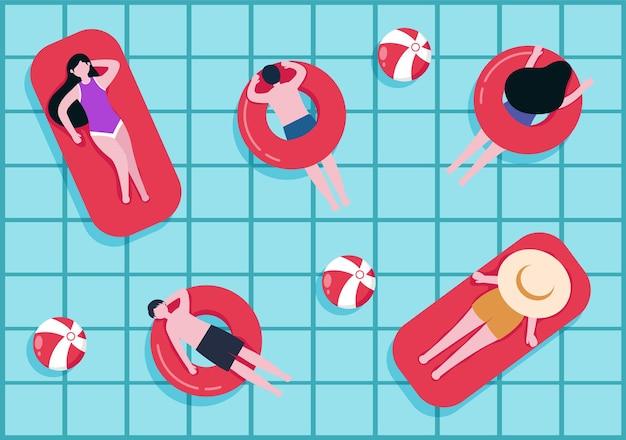 Schwimmen-hintergrund-vektor-illustration im flachen cartoon-stil. menschen tragen badebekleidung, schwimmen im sommer und führen wasseraktivitäten durch
