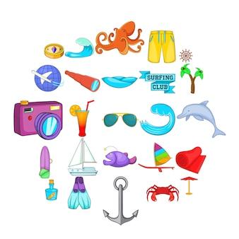Schwimmen in den seeikonen eingestellt. karikatursatz von 25 schwimmen in den seeikonen