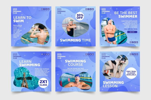 Schwimmen instagram posts Kostenlosen Vektoren