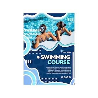 Schwimmen vertikaler flyer vorlage swimming