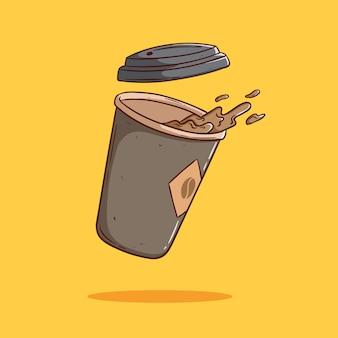Schwimmen von verschüttetem kaffee pappbecher