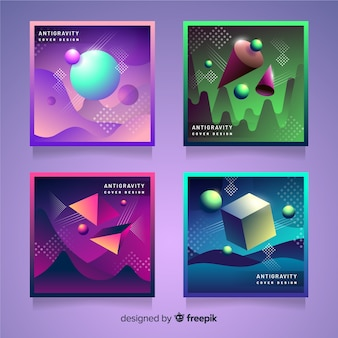 Schwimmende 3d-polygone cover pack