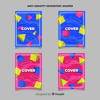 Schwimmende broschüre mit polygonalen formen