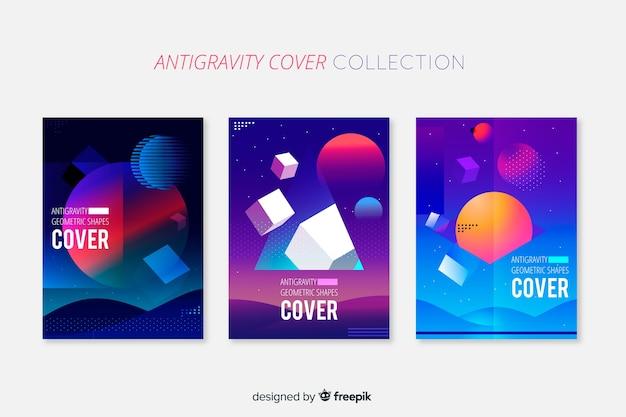 Schwimmende broschüre pack mit geometrischen formen 3d