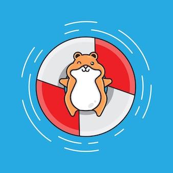 Schwimmende hamster-zeichentrickfigur