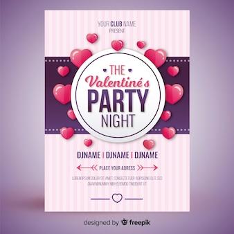 Schwimmende herzen valentine party poster