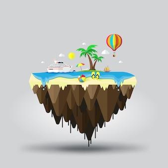 Schwimmende insel mit seelandschaft für reisen und strandtourismus