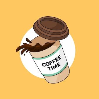 Schwimmende kaffeetasse mit verschüttetem kaffee umriss illustration cartoon-stil flaches design