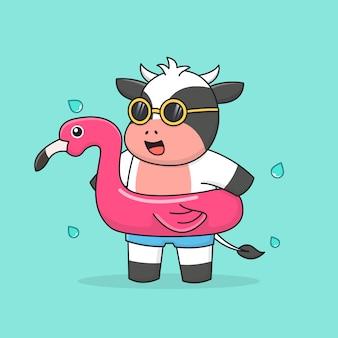Schwimmende kuh mit flamingogummiring und sonnenbrille