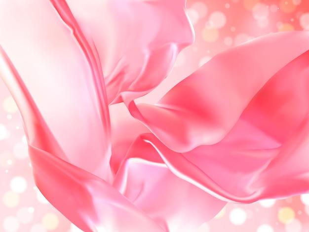 Schwimmende satindekoration, rosafarbener stoff auf bokeh-glanzhintergrund in 3d-darstellung