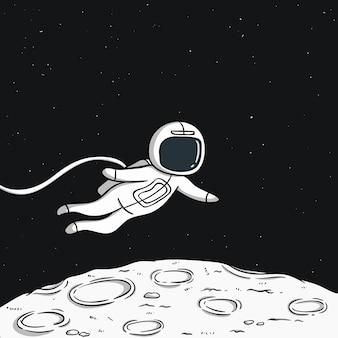 Schwimmender astronaut auf dem mond mit platz