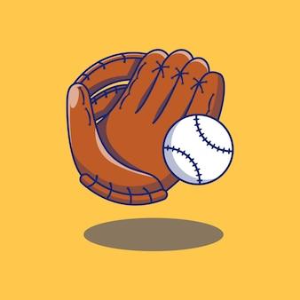 Schwimmender baseball-sporthandschuh und ballillustrationsdesign