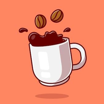 Schwimmender kaffee mit bohnen-karikatur-symbol-illustration.