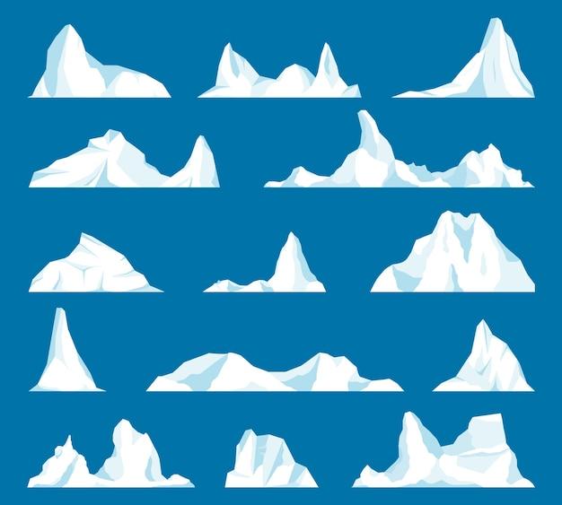 Schwimmendes eisbergset. gefrorener berg und eisige, gefrorene flüssigkeit und nordthemen. satz von isoliertem eisberg oder treibendem arktischem gletscher. design für videospiele. arktis. antarktis.