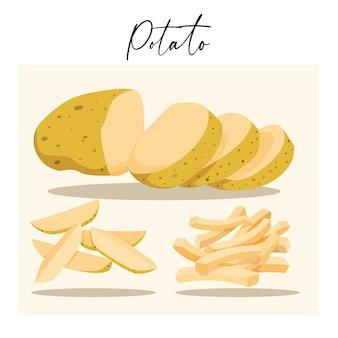 Schwimmendes geschnittenes kartoffelset, isoliert