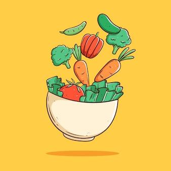 Schwimmendes gesundes vegetarisches essen in der schüssel