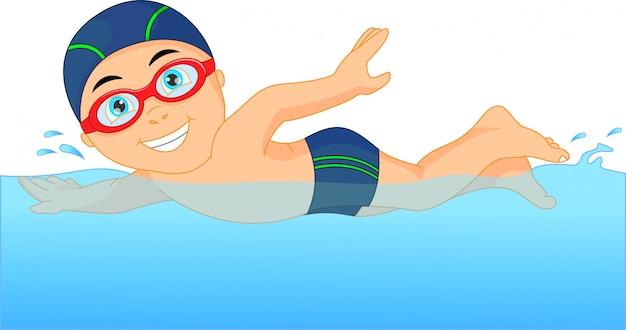 Schwimmer des kleinen jungen der karikatur im swimmingpool