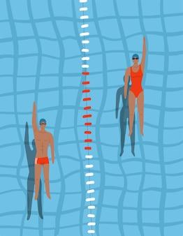 Schwimmer im pool draufsicht mann und frau schwimmen auf dem rücken im schwimmbad