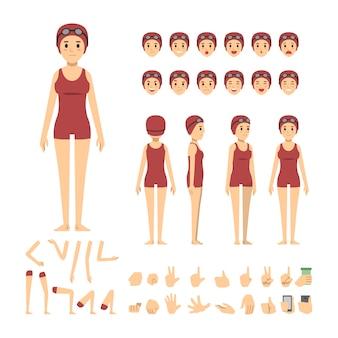 Schwimmer mädchen zeichensatz