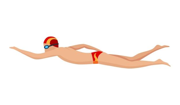 Schwimmercharakter von schwimmenden männern in badeanzug, hut und brille. menschen in aktionspose oder engagiertem wassersport. bunte vektorillustration im cartoon-stil isoliert auf weißem hintergrund