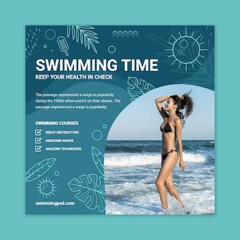 Schwimmflyer-vorlage mit foto