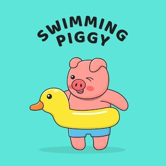 Schwimmschwein mit entenschwimmer
