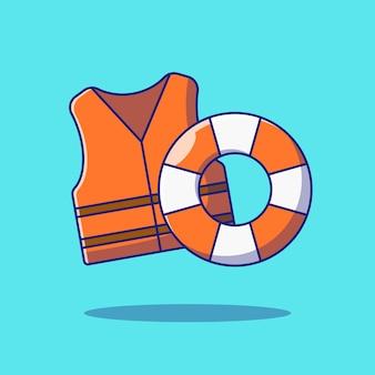 Schwimmweste oder schwimmweste und boje flat vector illustration. sicherheitssymbol konzept isoliert.