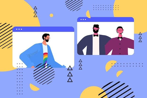 Schwule diskutieren während des videoanrufs transgender lieben das konzept der lgbt-community online-kommunikation