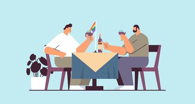 Schwules paar trinken wein zwei jungs verbringen zeit zusammen transgender liebe lgbt-gemeinschaftskonzept horizontale vektorillustration in voller länge
