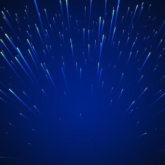 Sci-fi abstrakter hintergrund. sterne in der dynamik auf blauem hintergrund. illustration
