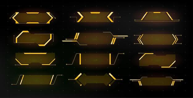 Sci-fi-elemente der modernen benutzeroberfläche ux-schaltfläche