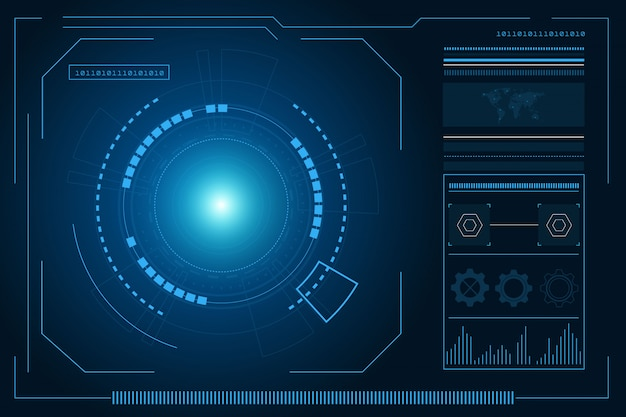 Sci fi futuristische benutzeroberfläche, hud, technologie abstrakter hintergrund